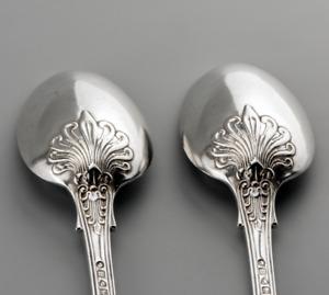 2 x 1867 Queens pattern Acanthus back double struck dessert spoons George Adams