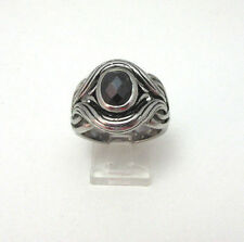 STAINLESS STEEL MARCASITE SWIRL MENS RING SIZE SETA  ***
