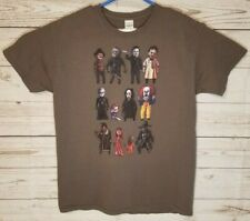 Horror Movie Villain Characters T-shirt Freddy Pennywise Michael Jason L Gray