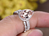 3.5ct Pear Morganite & Diamond Engagement Halo Trio Ring Set 14k White Gold Over
