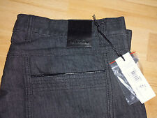 Versace Collection Men's Leather-trim Black Jeans , Size: 32