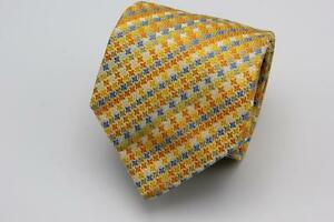 CHARLES TYRWHITT Silk Tie. Yellow with Blue & White Houndstooth. Made in England