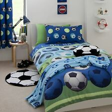 CATHERINE LANSFIELD FOOTBALL BLUE SINGLE DUVET COVER SET BOYS BEDDING  FREE P+P