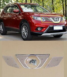 3PCS Front Grille Around Trim For 2014-2016 Nissan X-Trail Rogue Full Set NEW