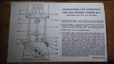 VINTAGE LEAFLET INSTRUCTIONS BIALADDIN no 1 PARAFFIN PRESSURE LAMP ALADDIN MOD