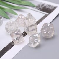 Set Of 7 Sided Polyhedral Dice For RPG D&D DND D4-D20 Clear Birthday Couple Part
