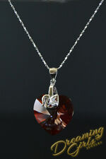 925 Sterling Silver Genius Swarovski Crystal Heart Necklace - Valentine Gift