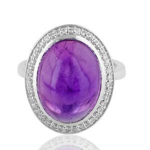Genuine 10.20 TCW Amethyst Gemstone Ring 14k White Gold Diamond Fine Jewelry New