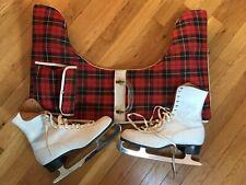 Vtg Women's Ice Skates Sz 9 w/Plaid Carry Case~Canada~Brooks Philadelphia Club