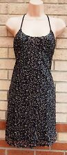 HEARTS & BOWS BLACK SEQUIN GOLD EMBROIDERED STRAPPY BAGGY PARTY TUNIC DRESS S M