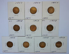 LOT OF 10 ~ 1857-58 U.S. FLYING EAGLE CENTS ~ ABOUT GOOD CONDITION
