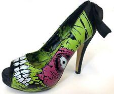 Womens Iron Fist Horror Goth Walking Dead Zombie Black Green High Heels Pumps 6