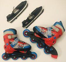 Marvel Comics Japan Kids Adjustable Spiderman Roller Blades / Ice Skates Combo!