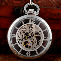 Vintage Open Face Silver Mechanical Skeleton Pocket Watch Windup Chain Pendant
