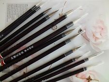 12 Chinese WOLF GOAT HAIR LMS BRUSH SUMI WRITING PAINTING JAPANESE CRAFT - BLACK