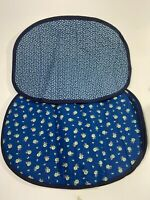 Vintage Set of 6 Blue Floral Print Oval Quilted Cloth Placemats Reversible