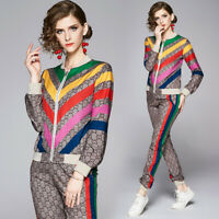 New Spring Summer Fall 2pcs Women Set Floral Print Jacket Coat Pant Suits Outfit