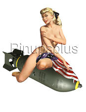 Sexy Pinup Girl Waterslide Decal Sticker American Flag Bomber Nose Art S314