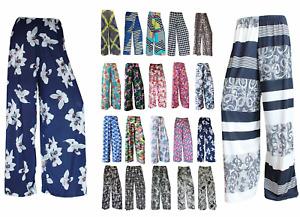 Womens Ladies Floral Print Palazzo Trousers Summer Wide Leg Pants Plus Sizes
