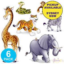 JUNGLE ZOO ANIMALS SAFARI PARTY SUPPLIES 6 PLASTIC SCENE SETTER PROP DECORATIONS