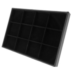 12 Grids Velvet Jewelry Bracelet Bangle Watch Display Tray Storage Box Black