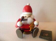 """Erzgebirge Richard Glasser """"Sitting Santa"""" Smoker Nutcracker Germany New No Box"""