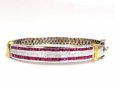 5.30ct natural princess cut ruby diamonds bangle bracelet 18kt