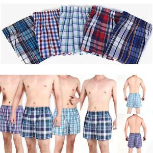 Mens Woven Check Boxer Shorts Cotton Rich Underwear Breifs Short Trunks NEW