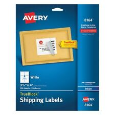 Avery White Shipping Labels For Ink Jet Printers - 8164