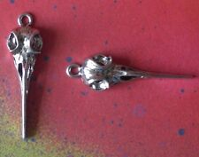 20 Raven Bird Skull Charms Metal Birdhead Crow Hummingbird Bellatrix Potter Goth