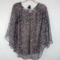 Bisou Bisou Womens Sheer Polka Dot Blouse Top Size XS Flare Sleeve Boho Tunic