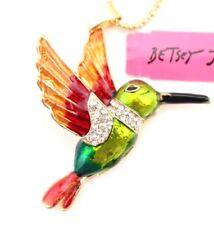Fashion Betsey Johnson Enamel hummingbirds Pendant Hot Rhinestone Necklaces