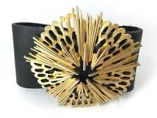 with vintage gold tone abstract pin Funky statement bracelet black leather cuff