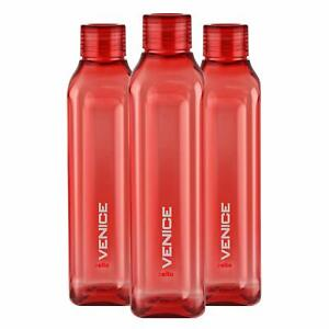 Plastic Fridge Refrigerator Water Bottle Set- 3 pieces, 1 L, Red, BPA Free