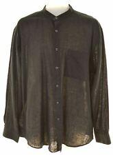 PIERRE CARDIN Mens Shirt Size 16 Large Black Linen  KS20