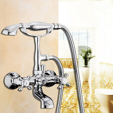Classic Chrome Clawfoot Bath Tub Bathroom Faucet with Hand Sprayer 2 Handles