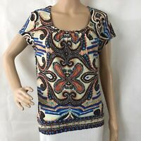 Chico's Top Chico's Size 0 (S) Multicolor Print Short Sleeve Pleated Neck