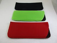 ~LOT of THREE~ Lime, Red, Black Neoprene Eyeglass Soft Reading Glass Cases Pouch