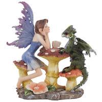 Woodland Spirit Fairy - Dragon Tea Party Figurine Sculpture Ornament Gift