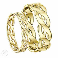9ct Yellow gold Hand Made Celtic Wedding Ring 5mm 6mm