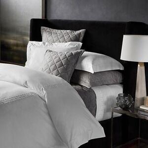 Matouk Celinda Egyptian Cotton FULL/QUEEN Duvet Cover WHITE/GREY Bedding B126