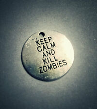 Word Charms Quote Charms Keep Calm and Kill Zombies Antiqued Silver 2 pieces