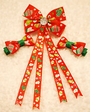 CHRISTMAS Red Mittens Handmade Girl Hair Accessories Ribbon Bow Clip Bobble