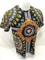 Mens PRESTIGIOUS SHORT Sleeve Shirt BLACK ORANGE MEDUSA HEAD SILKY LEAF NEW 106