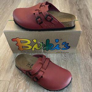 Birkenstock Birkis Size 6 Camden Red Leather Backless Clogs Germany 37