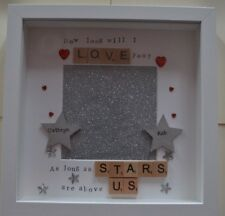 Personalised scrabble frame HOW LONG WILL I LOVE YOU wedding Anniversary gift