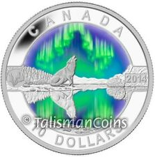 2014 Oh! Canada Series 9 Wolf Howling Northern Lights Aurora Borealis $10 Silver