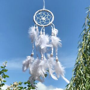 New Small Fluffy White Dream Catcher Native American Wall Hanging Mobile