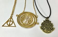 Harry Potter Time Turner Necklace, Deathly Hallows & Hogwart's Crest Bundle