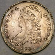 1807 CAP BUST SILVER HALF DOLLAR APPEALING BEAUTY SCARCE SMALL STARS O—113a—R.3*